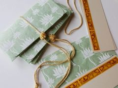 Pastel green tree bark paper with white lotuses, Money Envelope - Gift Box