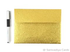 A7 Premium Envelopes - made from Glitter Gold Paper, for Special Commercial, Wedding and Corporate Stationery