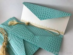 Money folders with a card, monetary currency, Gift Card holder, purse made with Tiffany Blue leather pattern embossed paper - Set of 4
