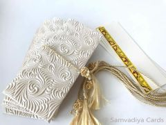 Ivory embossed with scroll and floral design Money Envelope - Gift Box