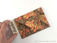 A1/ 4 Bar Euro Style Premium Envelopes - made from screen printed Floral Gold Brown Yellow and Red Handmade Paper, for Special Commercial, Wedding and Corporate Stationery