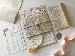 Wedding Invitation (Layered Panel Style) & RSVP Card - 'Cherry Magnolia and the Crane'