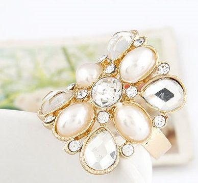 DL31392075 Fashion Ring - Rhinestone & Opal