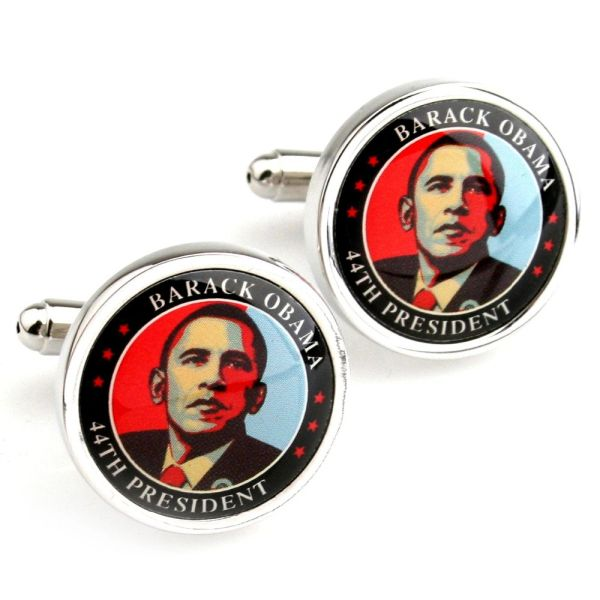 083399 Men's Cufflinks with 44th President Barack Obama Design