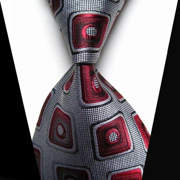 Men Luxury Neckties Grey/Burgundy Design