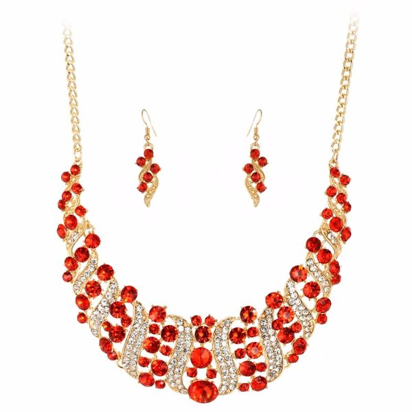 903399 Fancy Ruby and Diamond-Look Jeweled Necklace Set