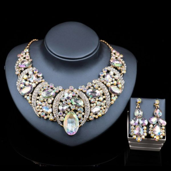 802972 Queen Jeweled Necklace Set - CZ Crystal White