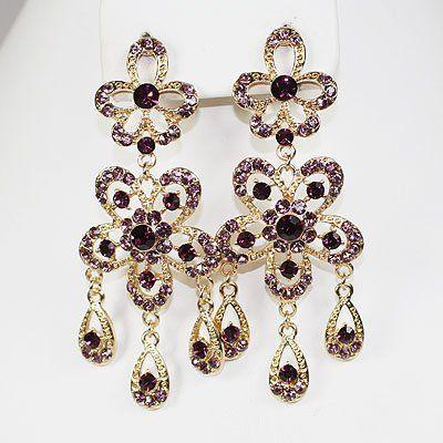 DL437604 Floral Design Chandelier Earrings
