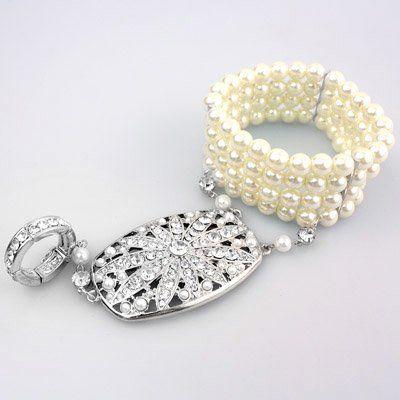 DL167802 3-Strains Pearl Bracelet Ring Combo