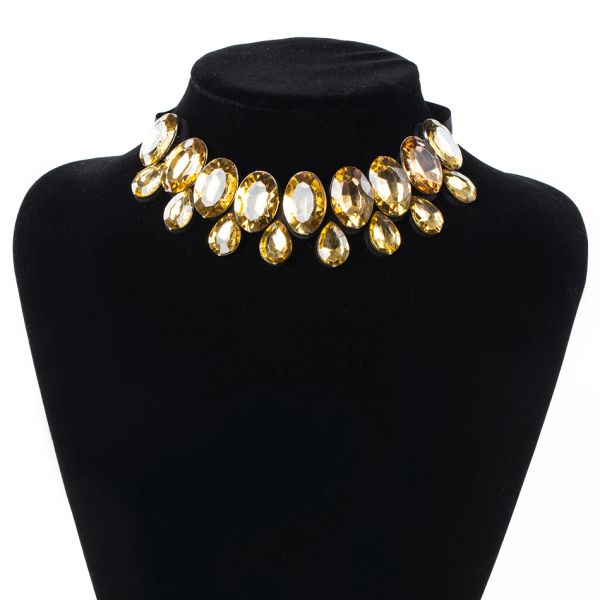 612129 Gem Ribbon Tie-Back Choker Necklace