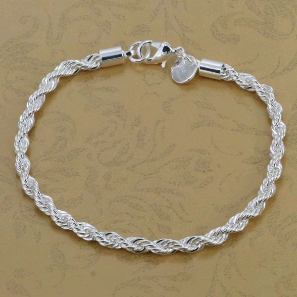 DL925088 .925 Sterling Silver Rope Chain Bracelet