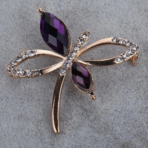 DL532083 Butterfly Crystal Brooch Pin with Rhinestone Accents