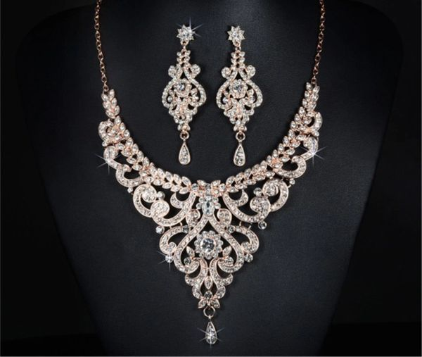 20497 White Rhinestone Jeweled Teardrop Necklace Set
