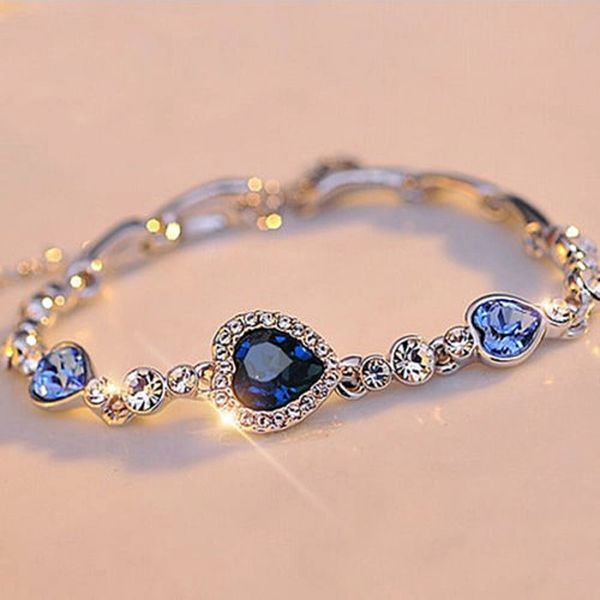 Heart Sapphire Crystal Rhinestone Bracelet in Silver-tone