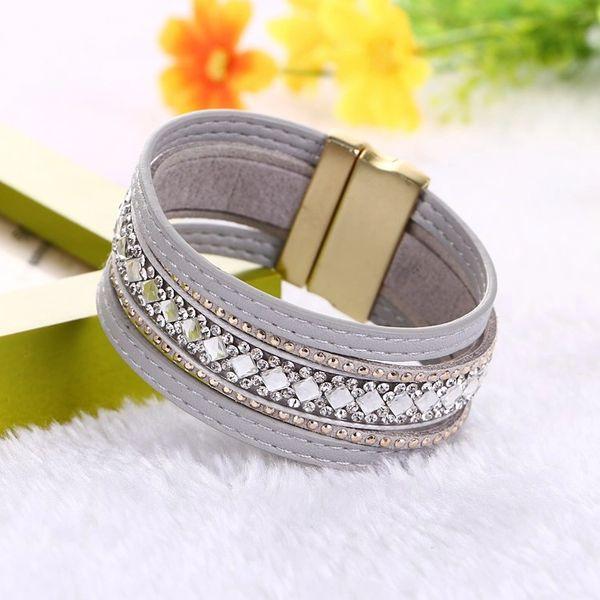Magnetic Leather Rhinestone Bracelet