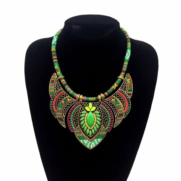 532496 Authentic African Fabric Beaded Necklace