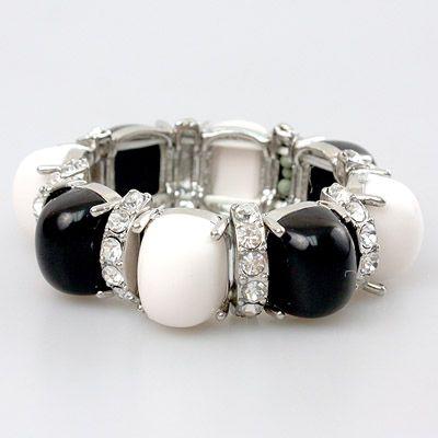 DL772002 Black and White Bead Bracelet