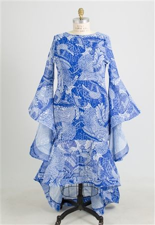 Authentic African Fabric Bell Sleeves Dress