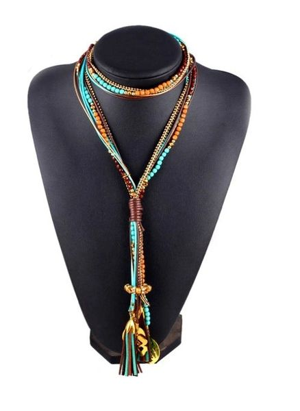 Boho Beaded Lucky Charms Tassel Necklace