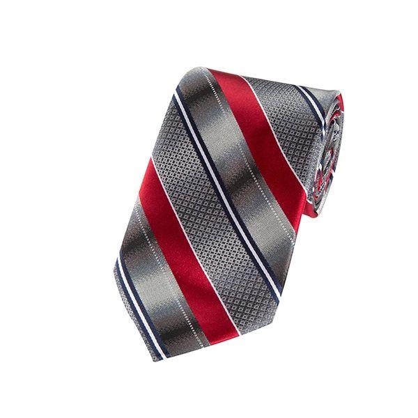 Gradient Gray & Crimson Red Geo Blended Striped Necktie