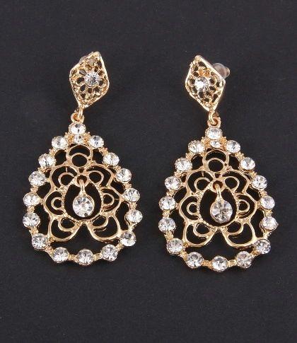 Rhinestone Hollow Earrings