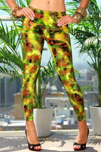 Green Velvet Cut Out Design Leggings DLSP0813