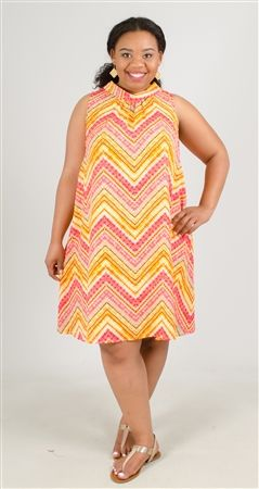 Glamour Chevron Multi Print Dress