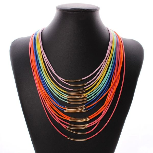 532448 Rainbow Cords Contemporary Design Necklace