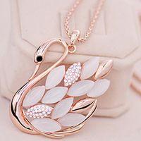 Opal swan Pendant Necklace