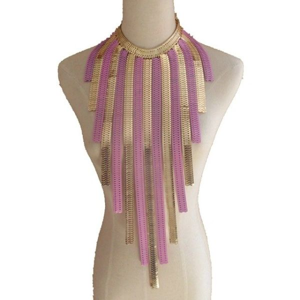 501499 NL Gold Pink Tassel Necklace