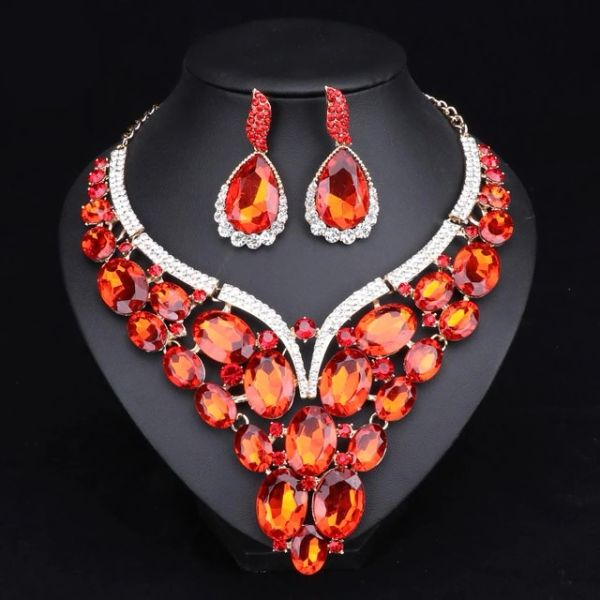 5321101 Orange Pear Shaped Necklace