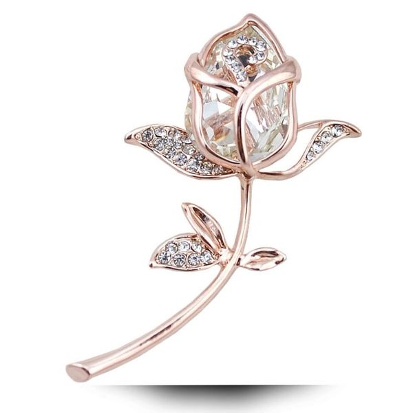 532114 Crystal White Rose Brooch