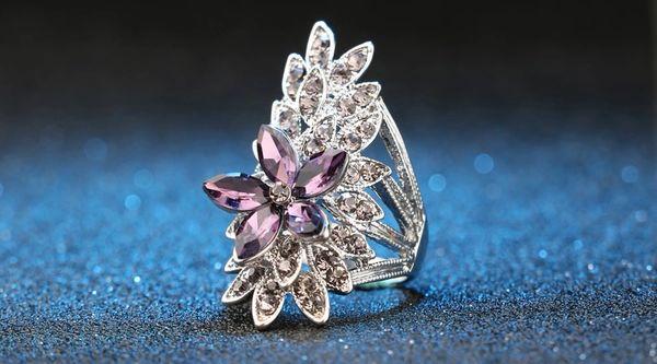 532143 Amethyst Jeweled Flower Design Ring