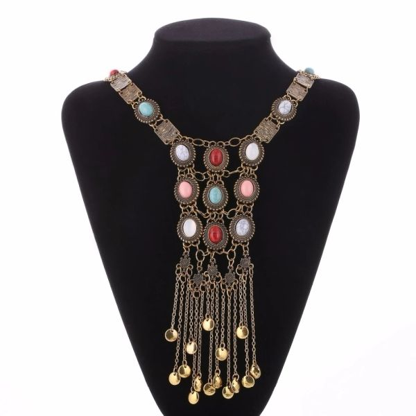532752 Retro Stones Tassel Necklace
