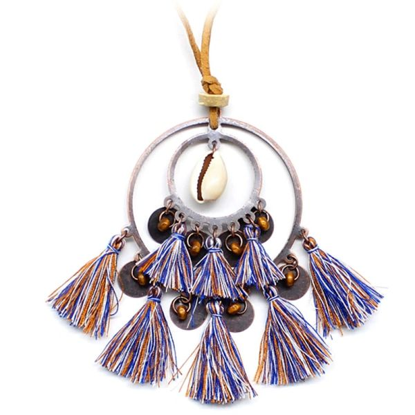 532189 Boho Tassel Charm Necklace
