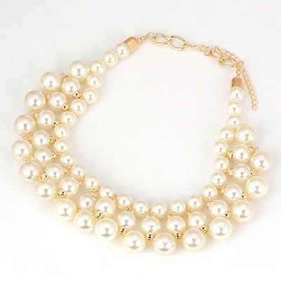 DL10035301 Classy Triple Tier Pearl Necklace