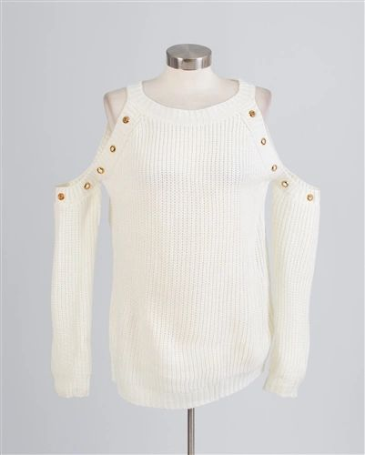 Vivid Grommet Cold Shoulder Sweater