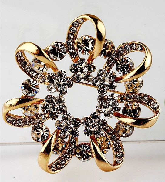 532162 Gold Ribbon Style Brooch