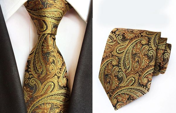 012 Bronze Gold Brown Paisley Neck Tie with matching Hanky