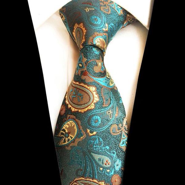 0243 Turquoise Gold Paisley Neck Tie