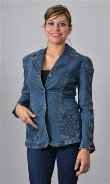 5015 Textured Detail Trim Denim Jacket