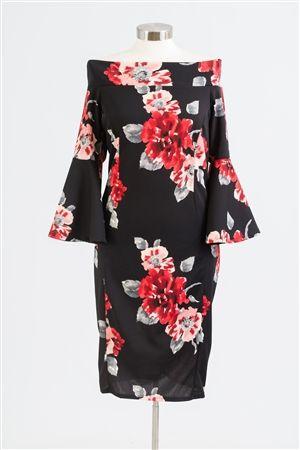 5721 Floral Off-Shoulder Dress