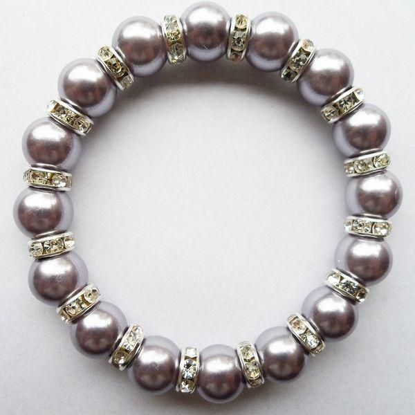 532093 Pearlized Embellished Rhinestone Bracelet