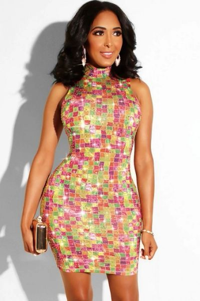 501173 Sequin Halter Style Dress