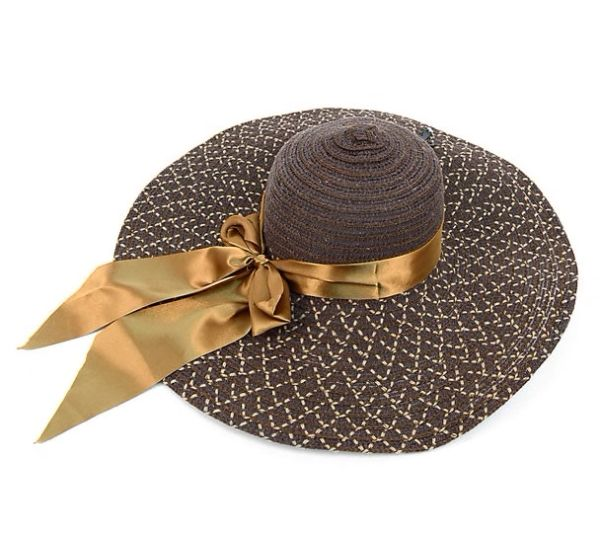 10323 Ladies Brown Satin Ribbon Hat