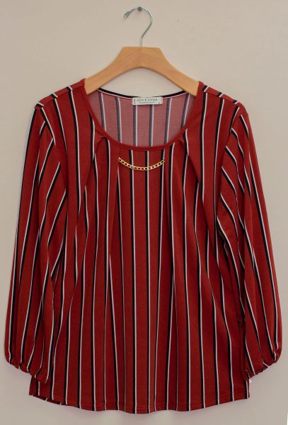 67413 Stripe round neck top