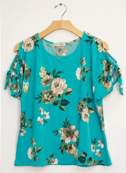 6745 Floral pattern cold shoulder top