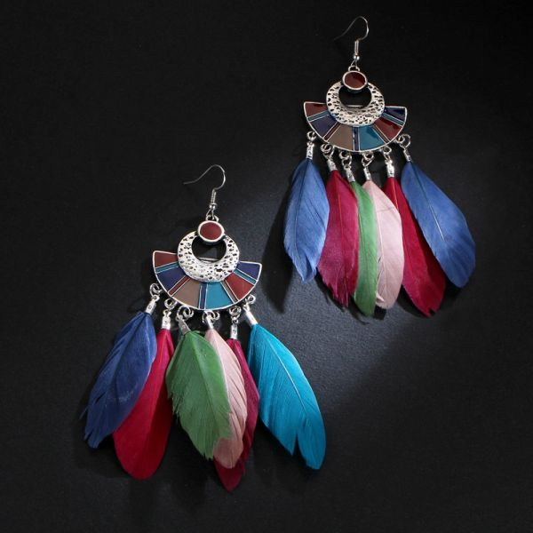 532167 Feather Long Earrings