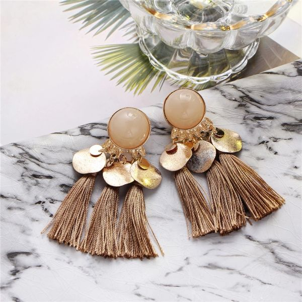 532099 Dubai Inspired tassel Pierced Earrings