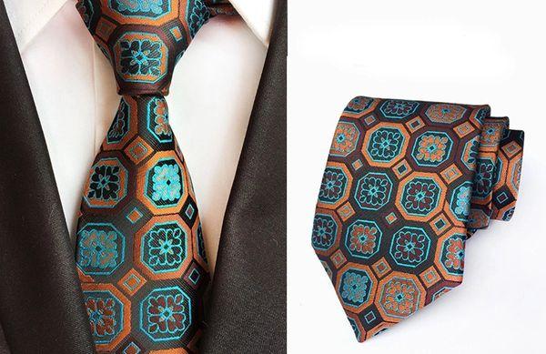 3004 Men designer Neck Tie Teal Brown